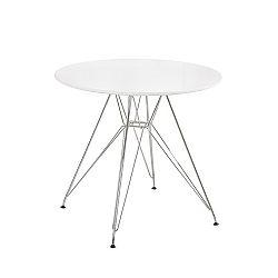 TEMPO KONDELA Jedálenský stôl, chróm/MDF, biela extra vysoký lesk HG, RONDY