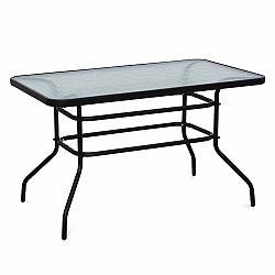 TEMPO KONDELA Jedálenský stôl, tvrdené sklo/oceľ, DEMAT NEW