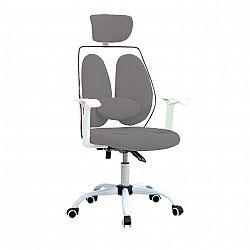 TEMPO KONDELA Kancelárske kreslo s opierkou hlavy, sivá/biela, BENNO UT-C568X