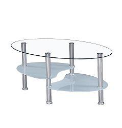 TEMPO KONDELA Konferenčný stolík, oceľ/číre sklo/mliečne sklá, WAVE NEW