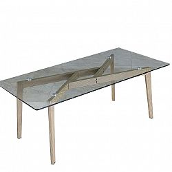 TEMPO KONDELA Konferenčný stolík, sklo/kov s úpravou buk, PEDREK Typ 2