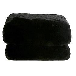 TEMPO KONDELA Kožušinová deka, čierna, 150x170, RABITA TYP 1