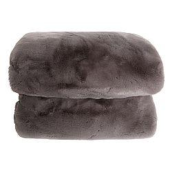 TEMPO KONDELA Kožušinová deka, sivá, 150x170, RABITA TYP 3