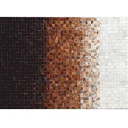 TEMPO KONDELA Luxusný kožený koberec, biela/hnedá/čierna, patchwork, 120x180, KOŽA TYP 7