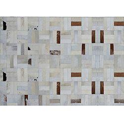 TEMPO KONDELA Luxusný kožený koberec, biela/sivá/hnedá, patchwork, 120x180, KOŽA typ 1