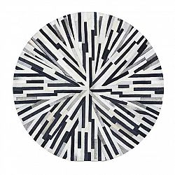 TEMPO KONDELA Luxusný kožený koberec, čierna/béžová/biela, patchwork, 150x150, KOŽA TYP 8
