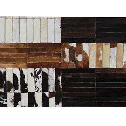 TEMPO KONDELA Luxusný kožený koberec, čierna/hnedá/biela, patchwork, 201x300, KOŽA TYP 4