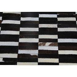 TEMPO KONDELA Luxusný kožený koberec,  hnedá/čierna/biela, patchwork, 69x140, KOŽA TYP 6
