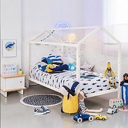 TEMPO KONDELA Montessori posteľ, borovicové drevo, biela, IMPRES