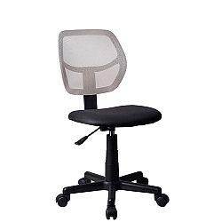 TEMPO KONDELA Otočná stolička, sivá/čierna, MESH