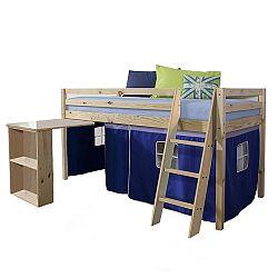 TEMPO KONDELA Posteľ s PC stolom, borovicové drevo/modrá, 90x200, ALZENA