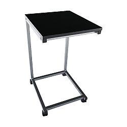 TEMPO KONDELA Príručný stolík, čierna/kov strieborná, MANNY