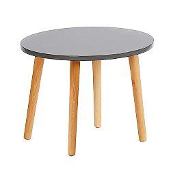 TEMPO KONDELA Príručný stolík, sivá/natural, BAZZY 2