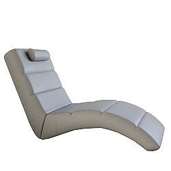 TEMPO KONDELA Relaxačné kreslo, ekokoža sivá, LONG