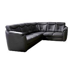TEMPO KONDELA Rozkladacia sedacia súprava, ekokoža čierna, pravá, MERLIN