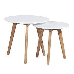 TEMPO KONDELA Sada 2 konferenčných stolíkov, biela/buk, MALTO
