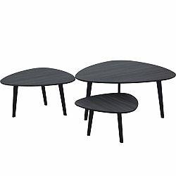 TEMPO KONDELA Sada 3 konferenčných stolíkov, sivé drevo/kov, LADON