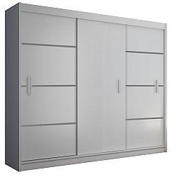 TEMPO KONDELA Skriňa s posúvacími dverami, biela/čierna, MERINA 250
