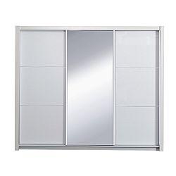 TEMPO KONDELA Skriňa s posúvacími dverami, biela/vysoký biely lesk, 208X213,  ASIENA