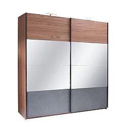 TEMPO KONDELA Skriňa s posúvacími dverami, orech/grafit, 200x219,  REKATO