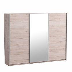 TEMPO KONDELA Skriňa trojdverová so zrkadlom, dub san remo/biela, MIRAN NEW