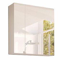 TEMPO KONDELA Skrinka so zrkadlom, biela/biely extra vysoký lesk HG, MASON WH14