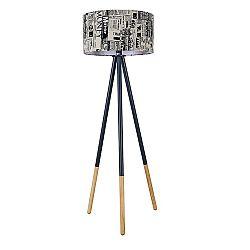 TEMPO KONDELA Stojacia lampa, čierny kov/látka, CINDA Typ 6 YF6253