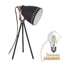 TEMPO KONDELA Stolná lampa, čierna, TORINO WA002-B