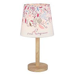 TEMPO KONDELA Stolná lampa, drevo/látka, vzor kvety, QENNY TYP 8 LT6026