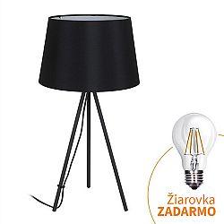 TEMPO KONDELA Stolná lampa, matná čierna, MILANO WA005-B
