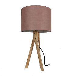 TEMPO KONDELA Stolná lampa, taupe hnedá/prírodné drevo, LILA Typ 3 LS2002