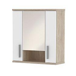 TEMPO KONDELA Závesná skrinka so zrkadlom, biela pololesk/dub sonoma, LESSY LI 01