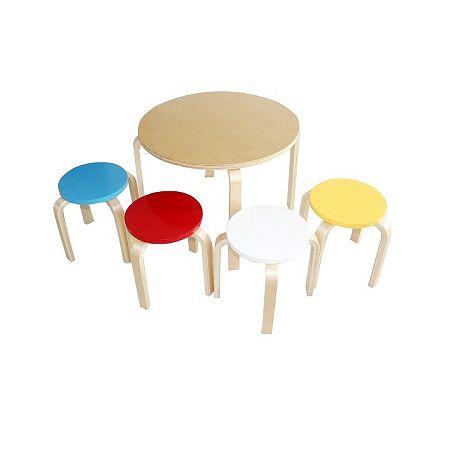 TEMPO KONDELA Detský set 1+4, brezové drevo, mix farieb, SIGRID