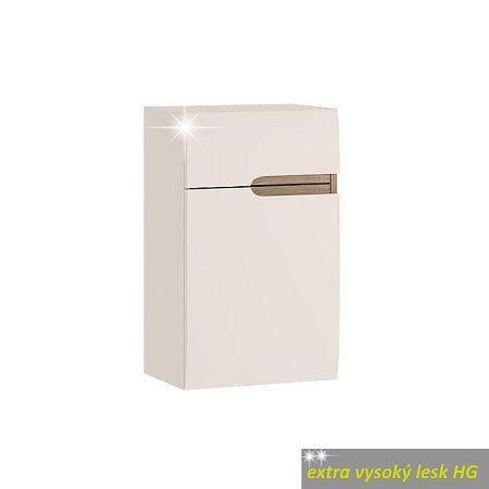 TEMPO KONDELA Dolná skrinka 1D1S, biela extra vysoký lesk HG/dub sonoma truflový, ľavá, LYNATET TYP 156