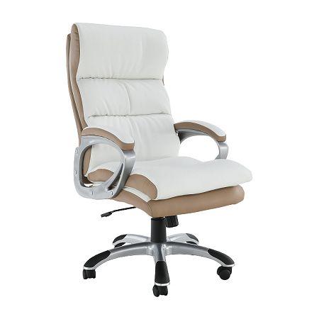 TEMPO KONDELA Kancelárske kreslo, biela/hnedá ekokoža, KOLO