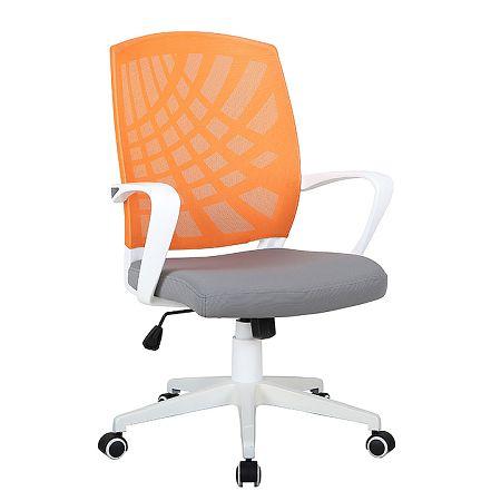TEMPO KONDELA Kancelárske kreslo, oranžová/sivá/biela, VIDAL