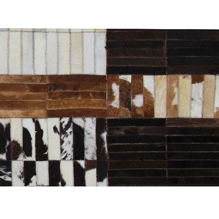 TEMPO KONDELA Luxusný kožený koberec, čierna/hnedá/biela, patchwork, 141x200, KOŽA TYP 4