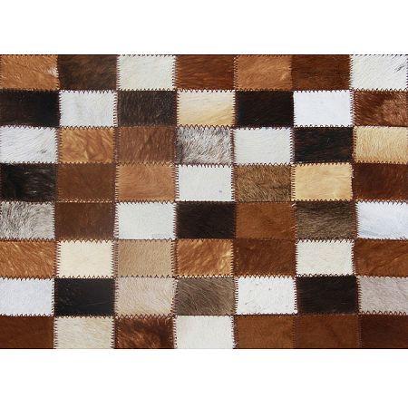 TEMPO KONDELA Luxusný kožený koberec, hnedá/čierna/biela, patchwork, 144x200, KOŽA TYP 3