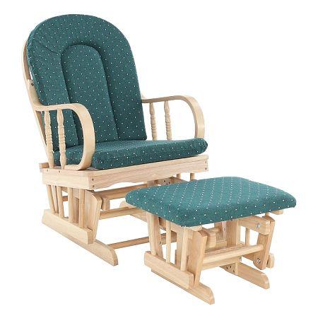TEMPO KONDELA Relaxačné kreslo, drevo látka buk zelené, RELAX GLIDER 87107