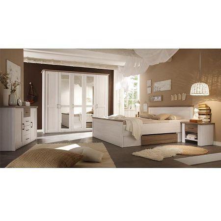 TEMPO KONDELA Spálňový komplet (posteľ, 2 nočné stolíky, skriňa), pínia biela/dub sonoma truflový, LUMERA
