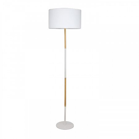 TEMPO KONDELA Stojacia lampa, biely hliník/vzor dreva, CINDA Typ 20 YF6046