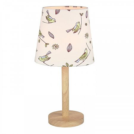 TEMPO KONDELA Stolná lampa, drevo/látka vzor vtáci, QENNY TYP 7 LT6026